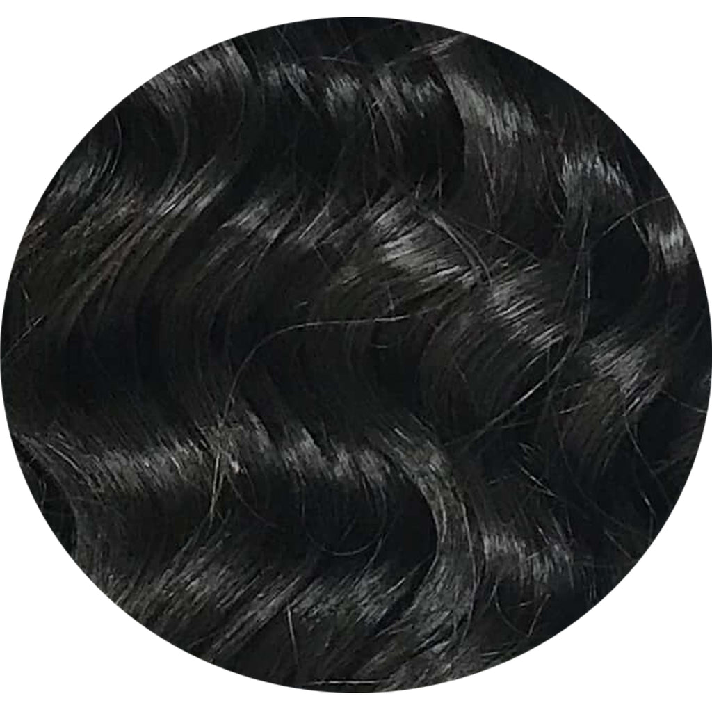 "Mulberry Curly Halo Hair Extensions Black 18"" 100 Remy Human Hair"