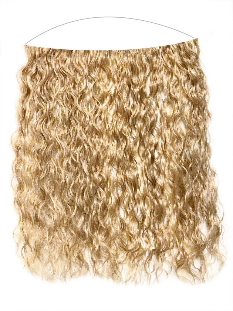 "Mulberry Curly Halo Hair Extensions Blonde 18"" 100% Human Remy Hair"""
