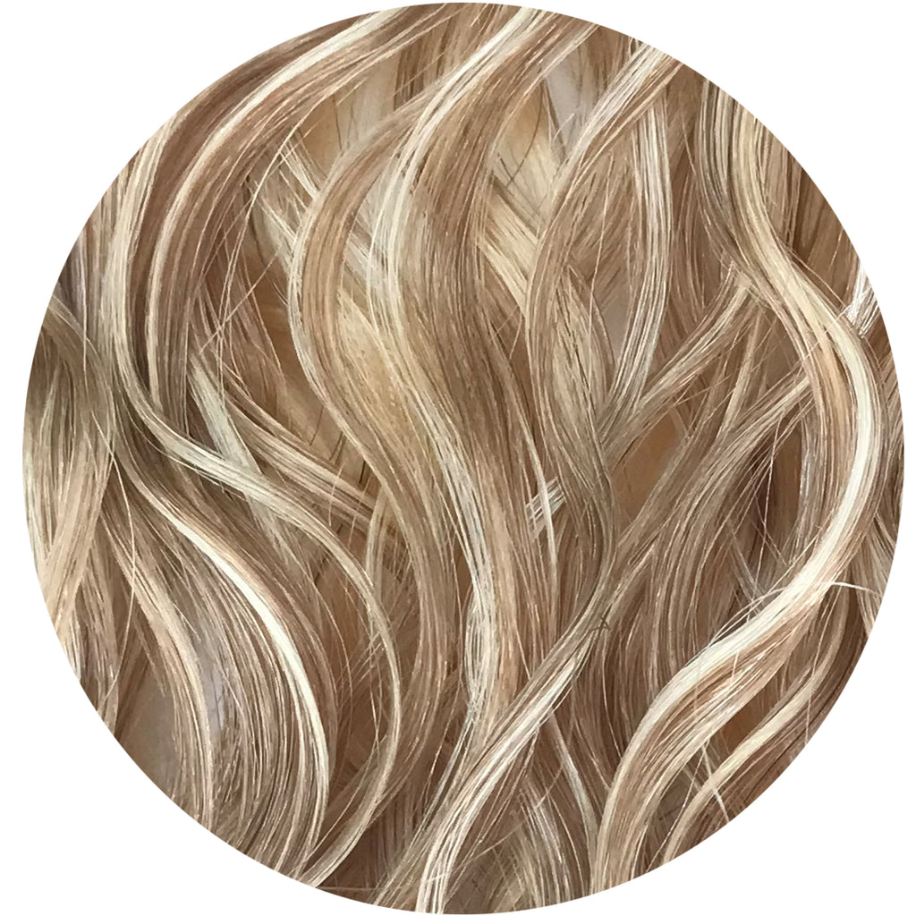 "Mulberry Curly Halo Hair Extensions Blonde 18"" 100% Human Remy Hair"