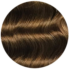 "Mulberry Curly Halo Hair Extensions Ash Brown 18"" Colour Swatch"