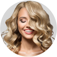 "Mulberry Curly Halo Hair Extensions Blonde 18"" Colour Swatch"