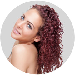 "Mulberry Curly Halo Hair Extensions Auburn Red 18"" Colour Swatch"