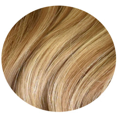 "Mulberry Clip In Hair Extensions Chestnut Brown with Blonde 20"" Colour Swatch"