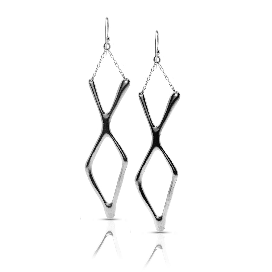 diamond fork earrings