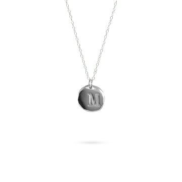 initial disc pendant necklace