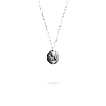 initial oval pendant necklace