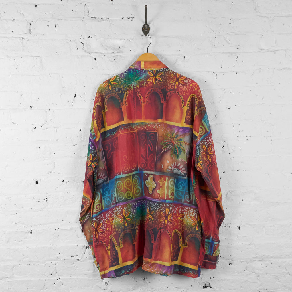 90s Long Sleeve Patterned Shirt - Orange - XL - Headlock