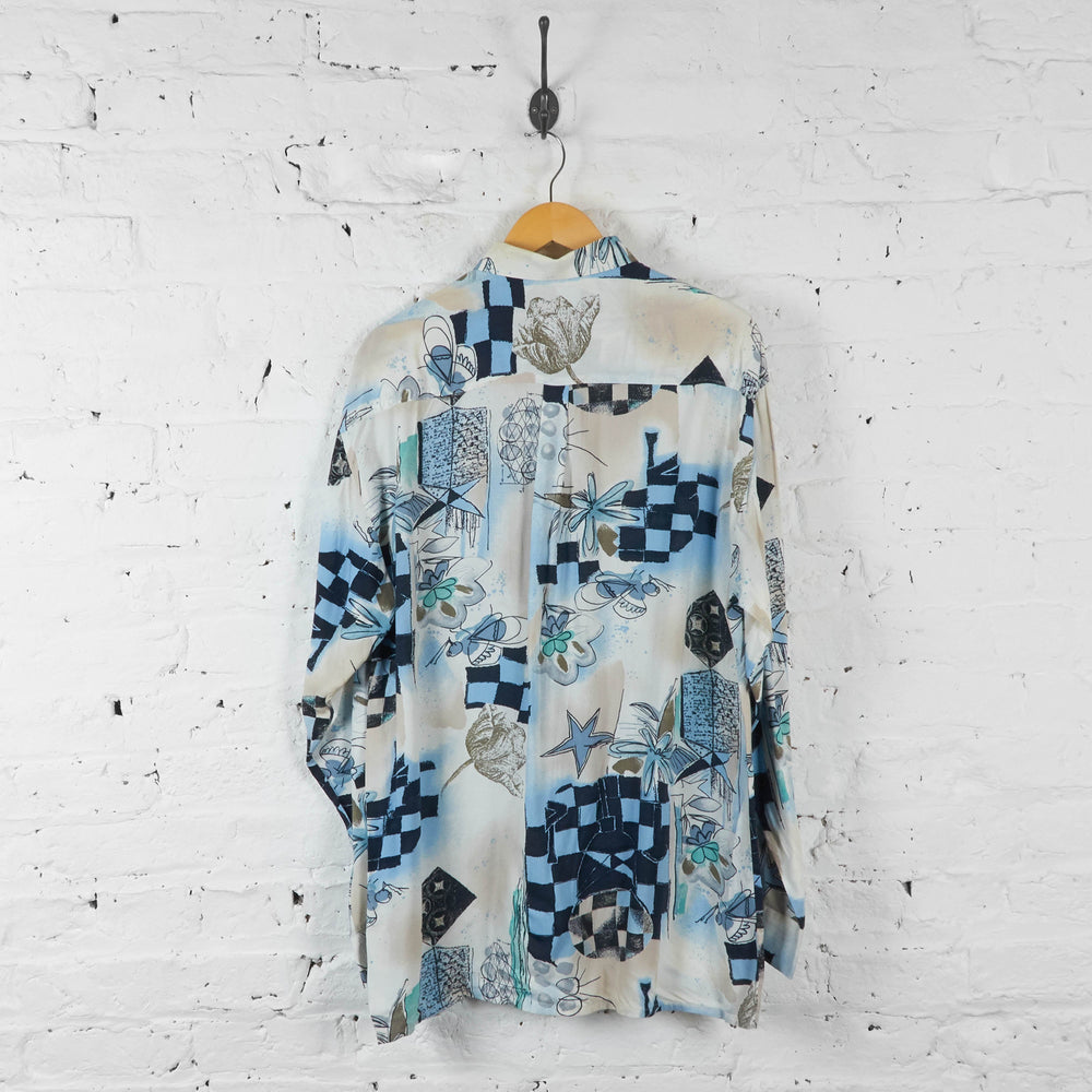90s Long Sleeve Patterned Shirt - White - L - Headlock