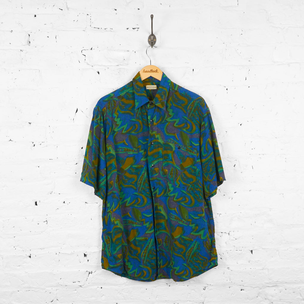 90s Pattern Summer Shirt - Green/Blue - XL