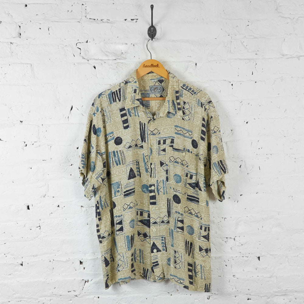 90s Patterned Flannel Shirt - Beige - XXL - Headlock
