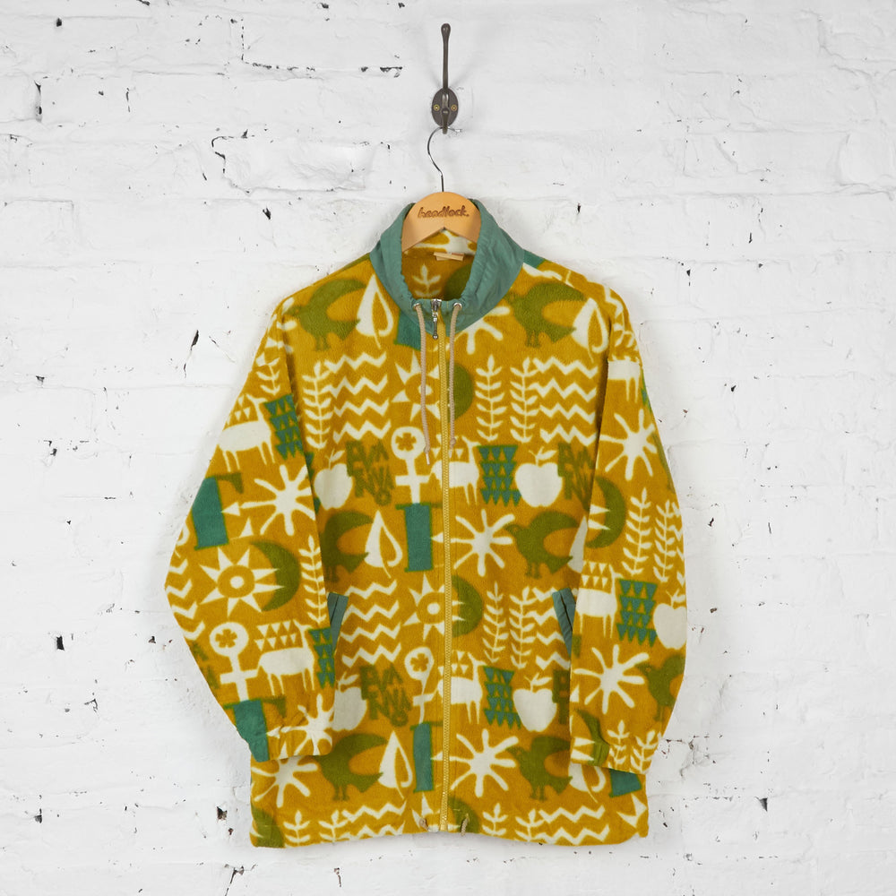 90s Patterned Full Zip Fleece - Yellow - M - Headlock