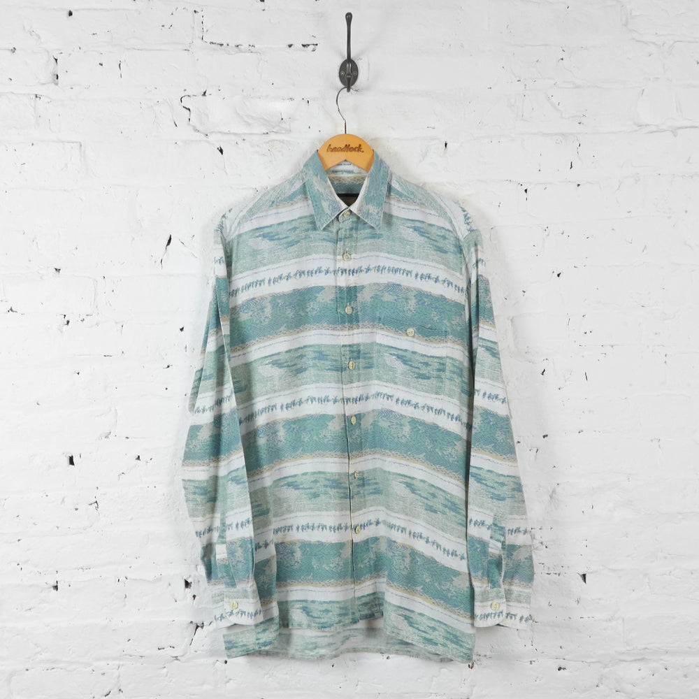 90s Striped Long Sleeve Pattern Shirt - Green - L - Headlock