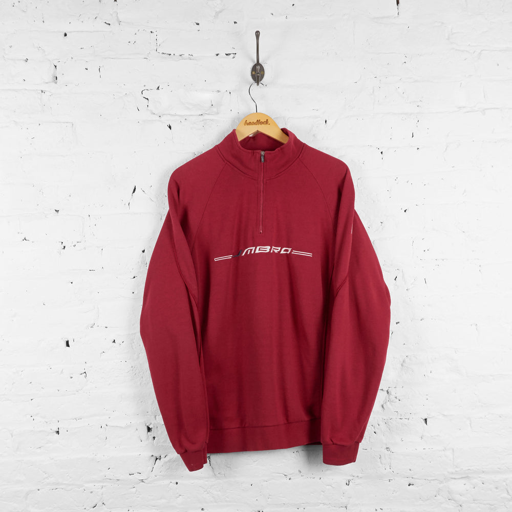 Vintage Umbro 1/4 Zip Up Fleece - Red - XL