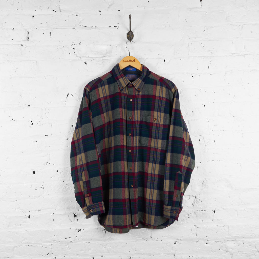 Vintage Pendleton Wool Flannel Shirt - Green/Red - L