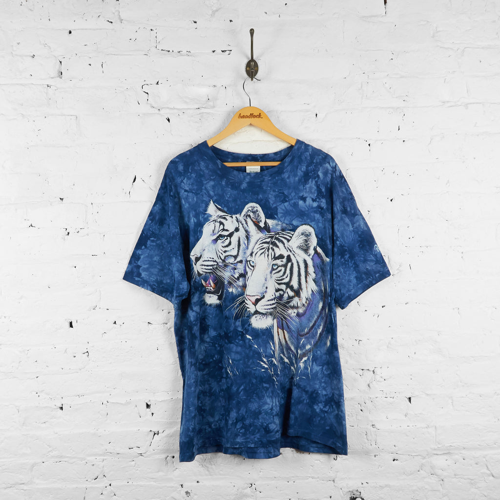 Vintage Tie Dye White Tiger T-shirt - Blue - XL