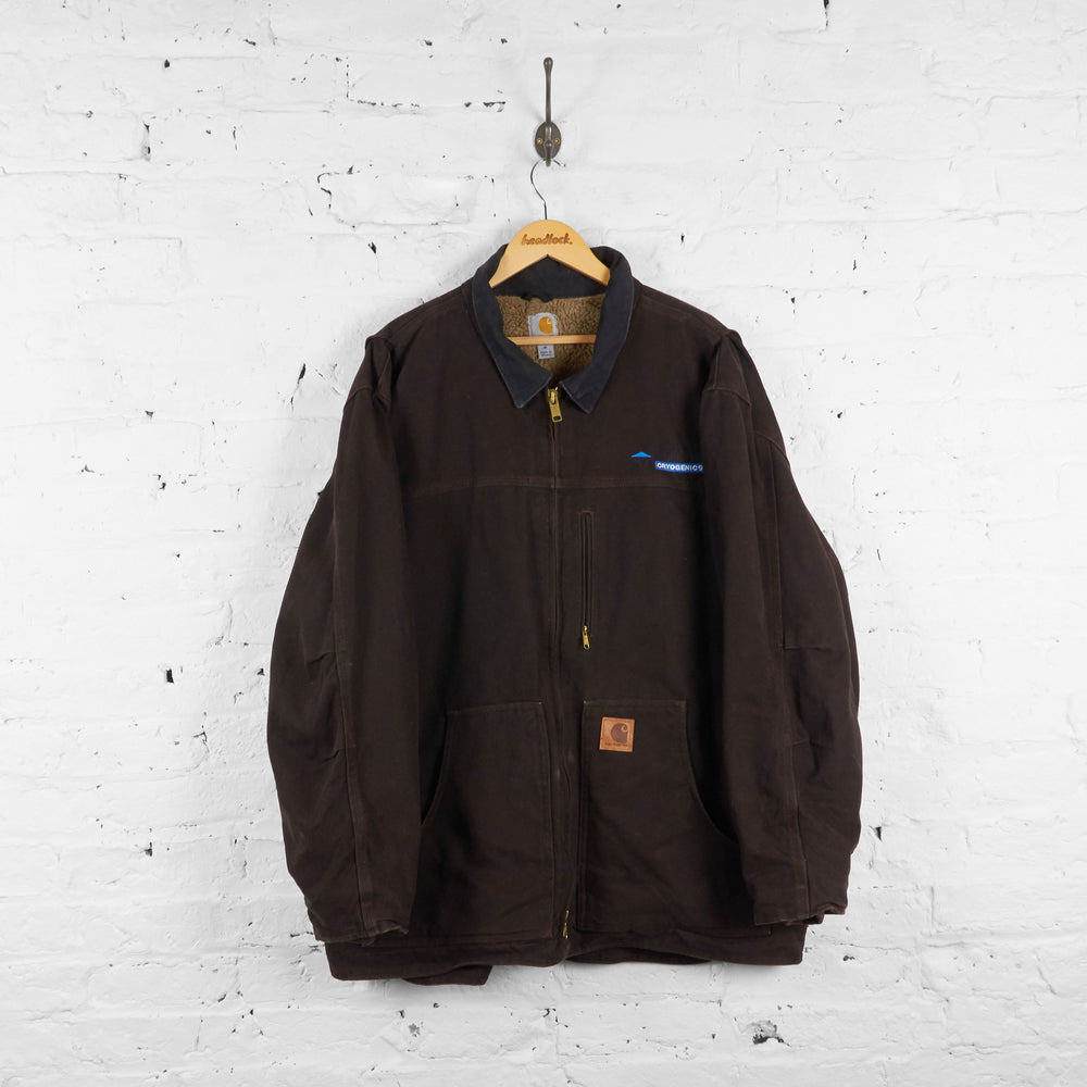 Vintage Collared Carhartt Jacket With Teddy Bear Lining - Brown - XL