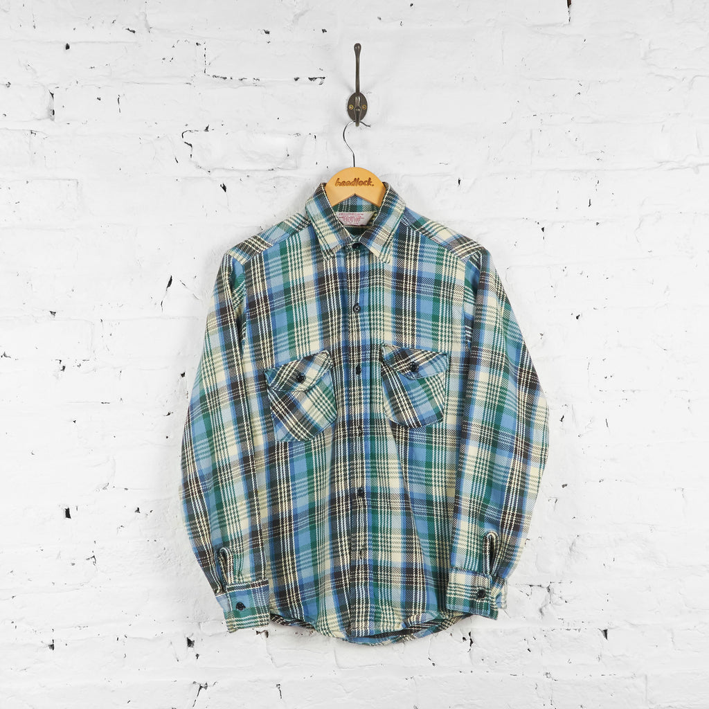 Vintage Flannel Shirt - Blue/Green/White - M