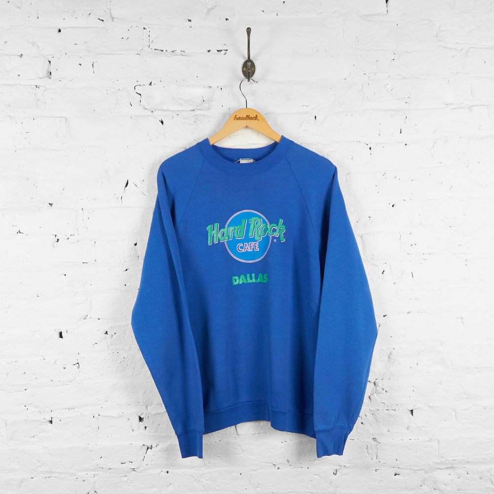 Vintage Dallas Hard Rock Cafe Sweatshirt - Blue - XL