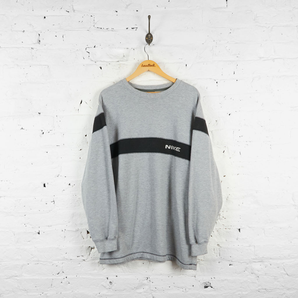 Vintage Nike Sweatshirt - Grey/Black - XXL
