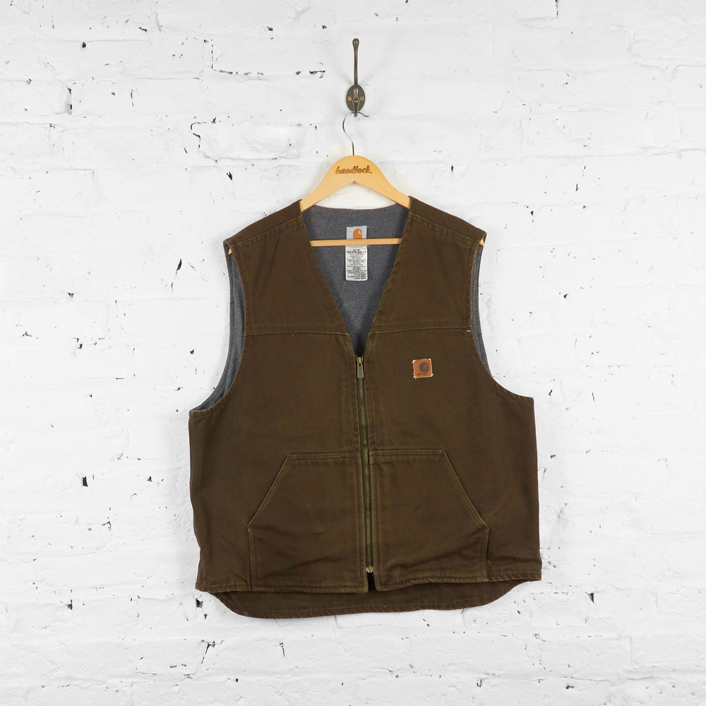 Vintage Sleeveless Carhartt Jacket - Brown - XL