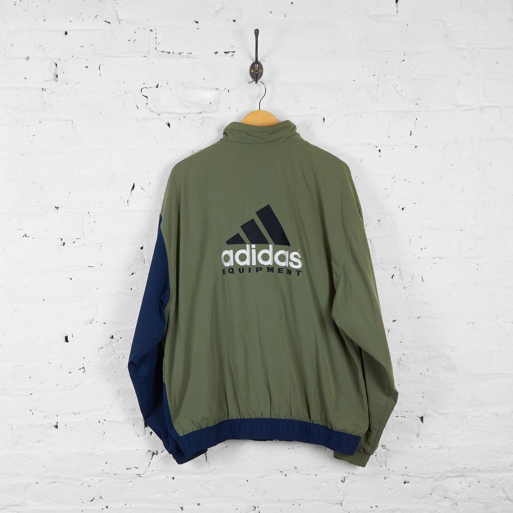 Vintage Patterned Shell Adidas Equipment Jacket - Khaki/Navy - L