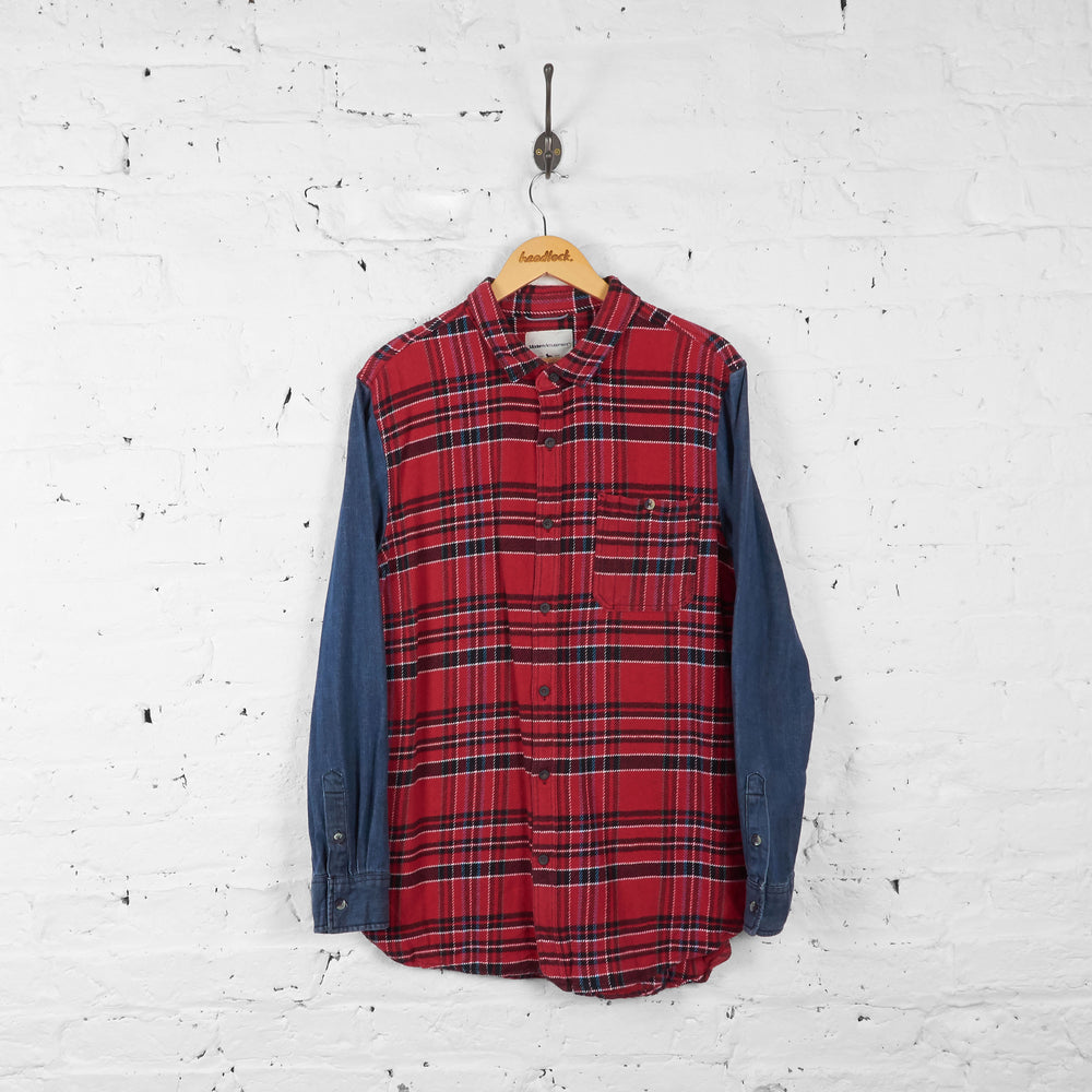 Vintage Flannel Shirt - Red/Black/Blue - L
