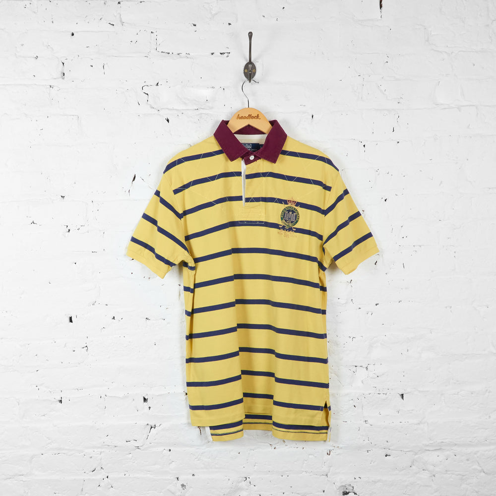 Vintage Striped Ralph Lauren Polo Shirt - Yellow/Navy - L
