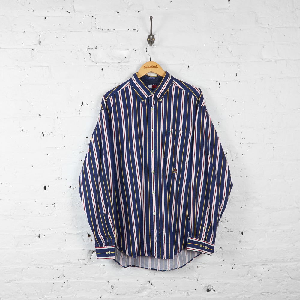 Vintage Striped Tommy Hilfiger Shirt - Blue/Yellow/Red - XL
