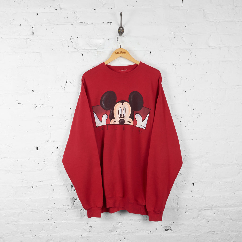 Vintage Mickey Mouse Sweatshirt - Red - XL