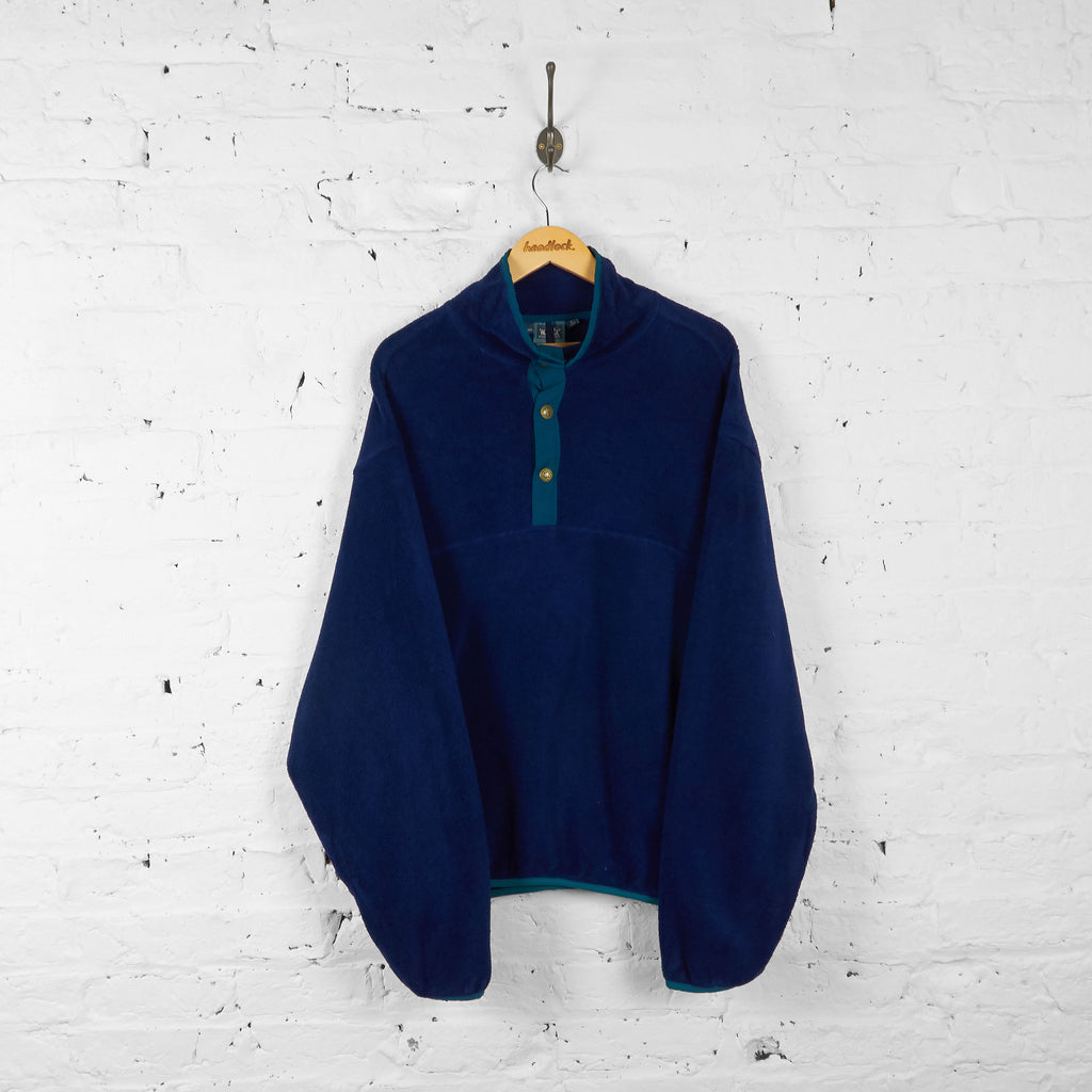 Vintage Woolrich 1/4 Button Up Fleece - Blue - L