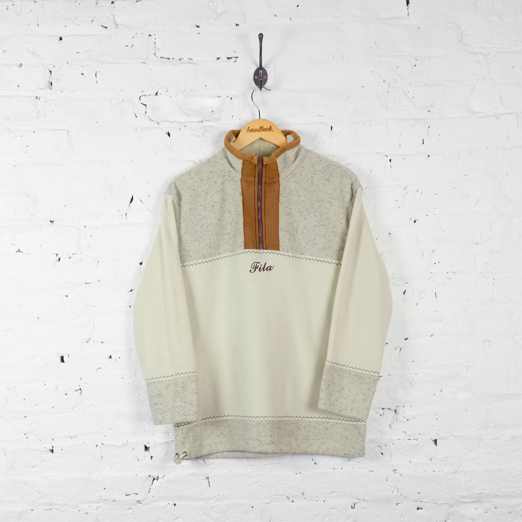 Vintage Fila 1/4 Zip Fleece - Beige - M