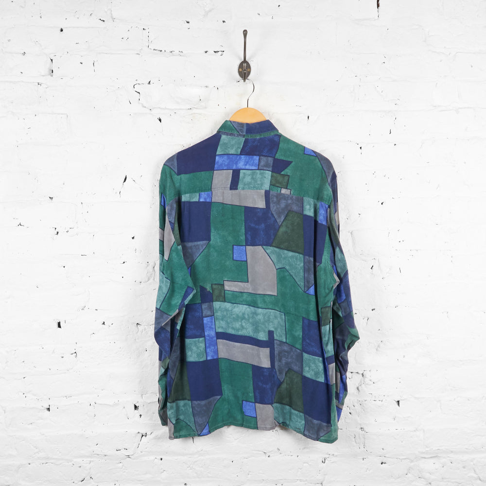 Vintage Patchwork Abstract Shirt - Green - M