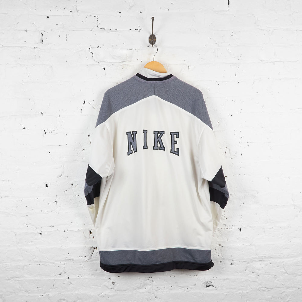 Vintage Nike Tracksuit Top - White/Black - L - Headlock