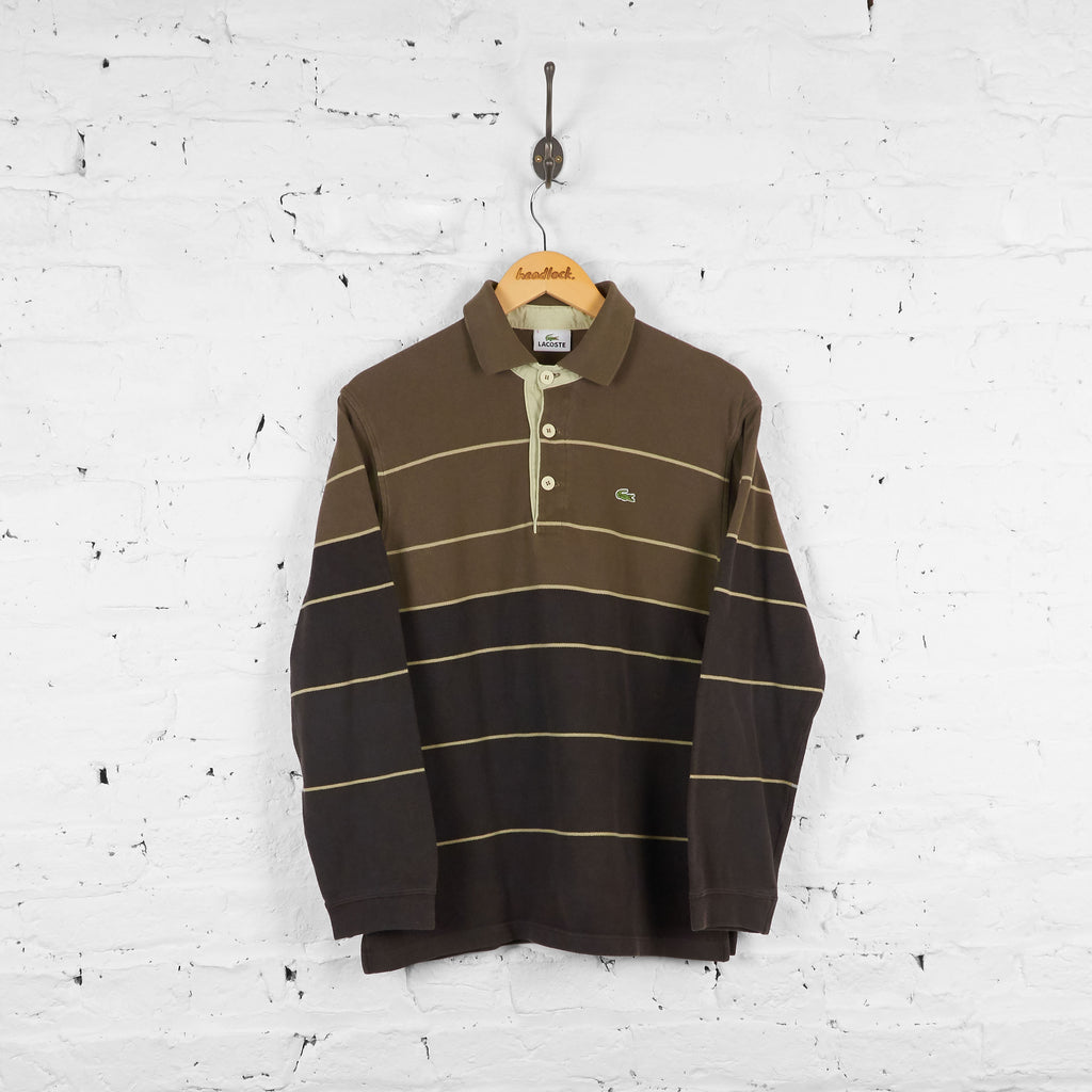 Vintage Striped Lacoste Polo shirt - Brown - S