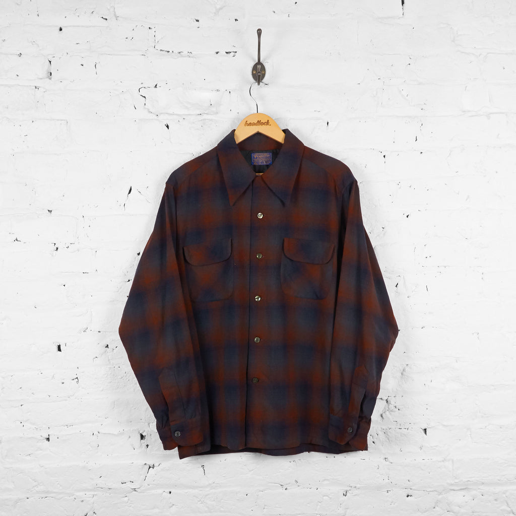 Vintage Pendleton Checked Wool Shirt - Brown/Blue - L