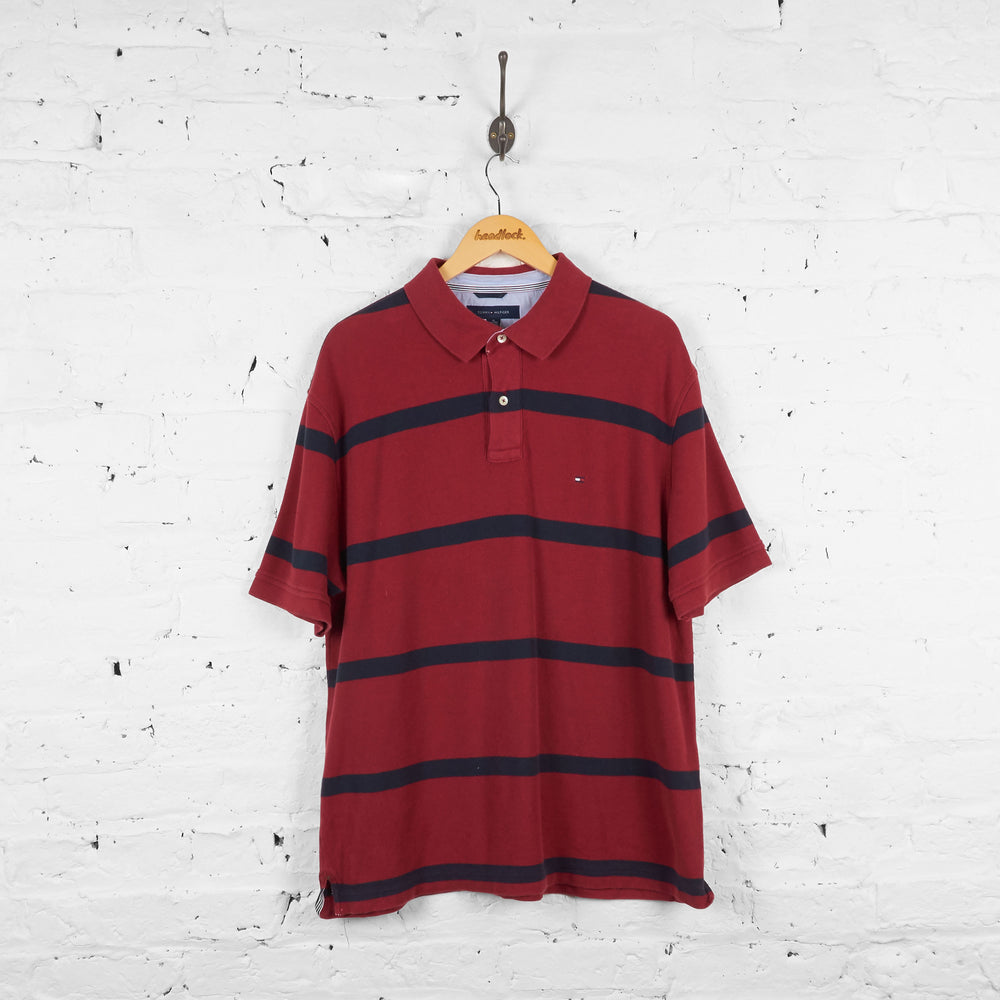 Vintage Striped Tommy Hilfiger Polo Shirt -Red/Navy - XL