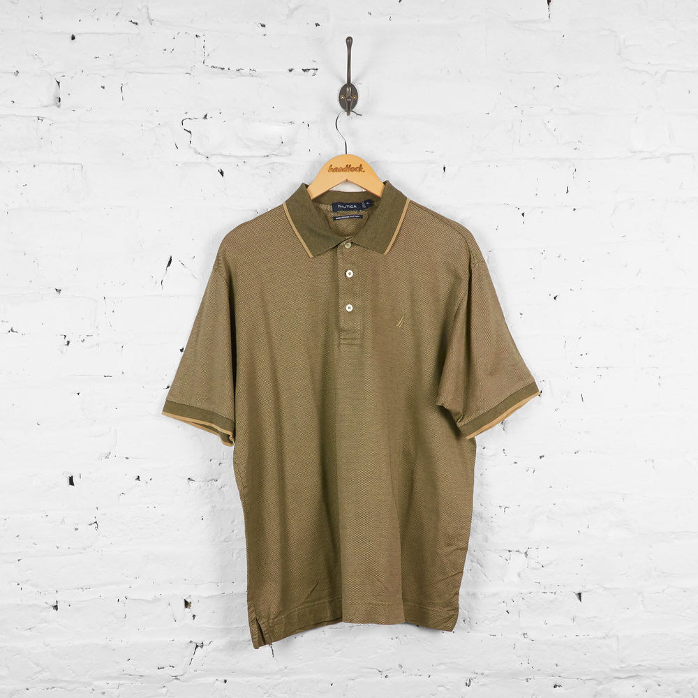 Vintage Nautica Polo Shirt - Cream/Black - XL