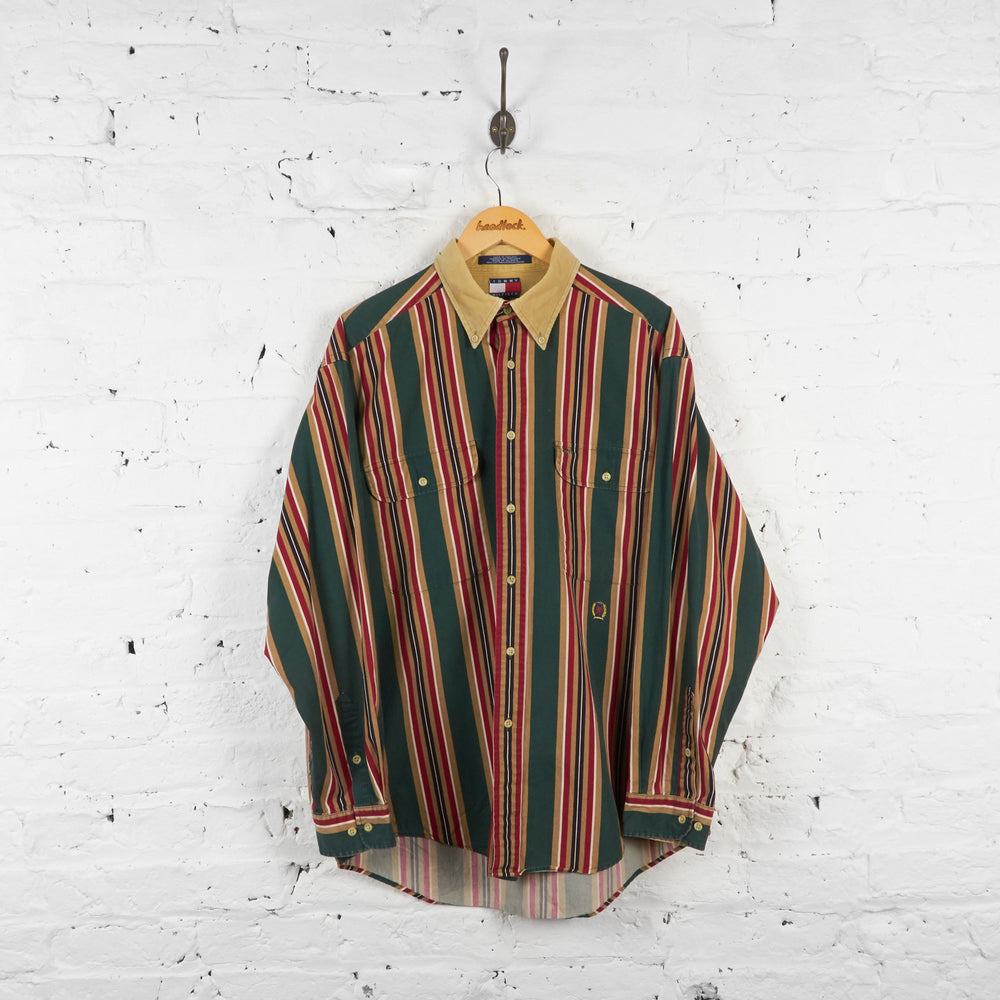 Vintage Tommy Hilfiger Striped Shirt - Green/Red - L