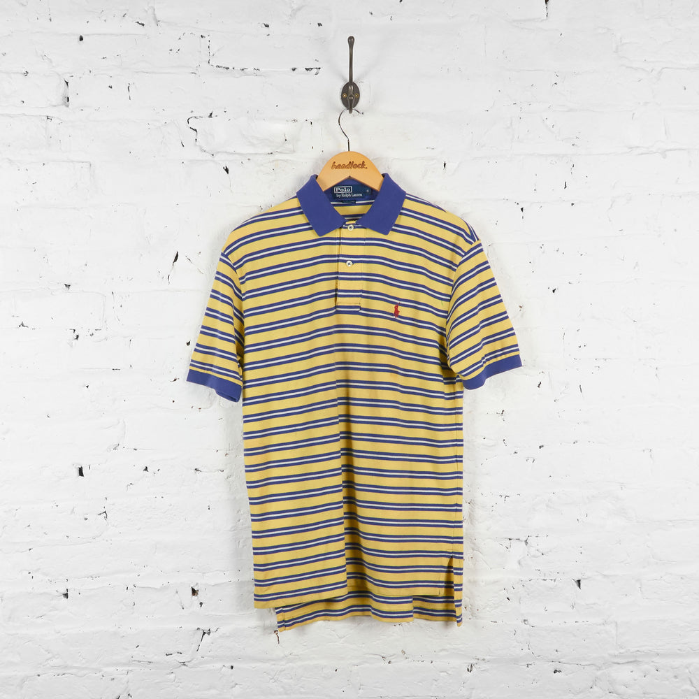 Vintage Striped Ralph Lauren Polo Shirt - Yellow/Blue - S