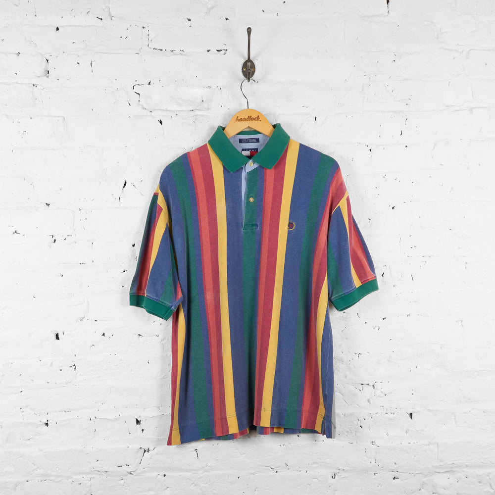 Vintage Multicolour Tommy Hilfiger Polo Shirt - Blue/Green/Yellow - L