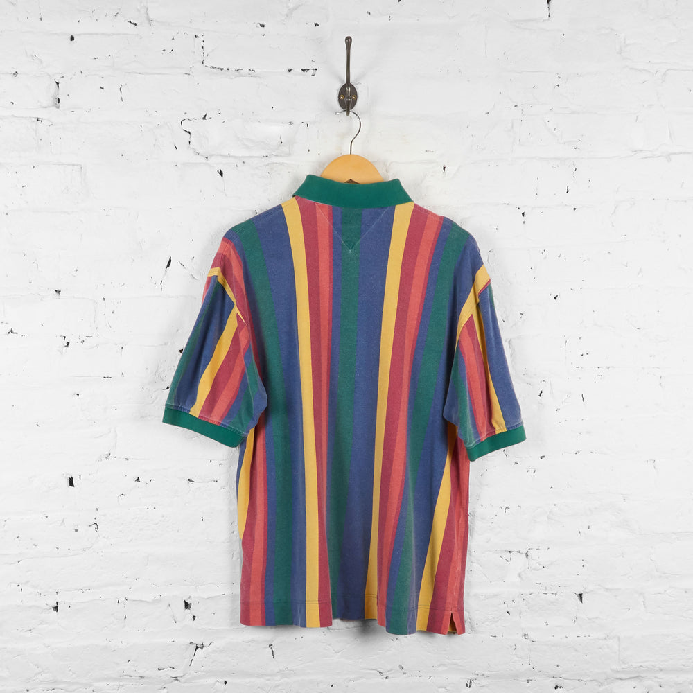Vintage Multicolour Tommy Hilfiger Polo Shirt - Blue/Green/Yellow - L - Headlock