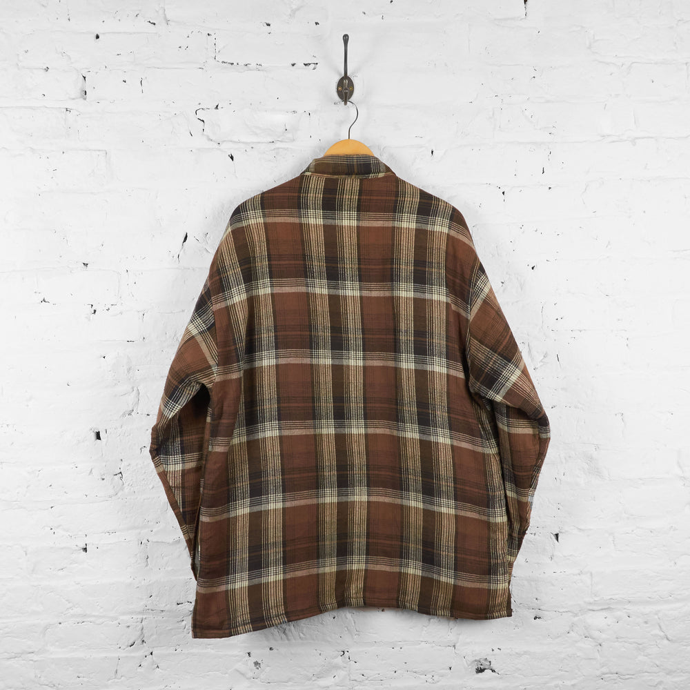 Vintage Quilted Flannel Shirt - Brown - L