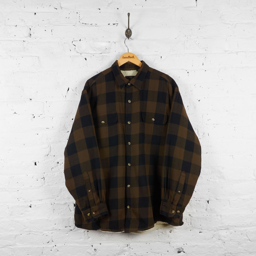 Vintage Fleece Lined Flannel Shirt - Brown/Black - XL
