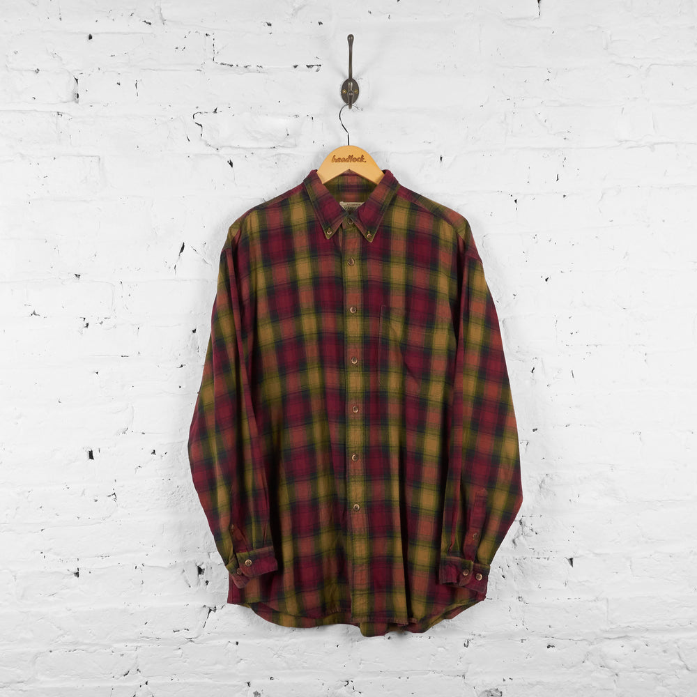 Vintage Flannel Shirt - Red/Green - L