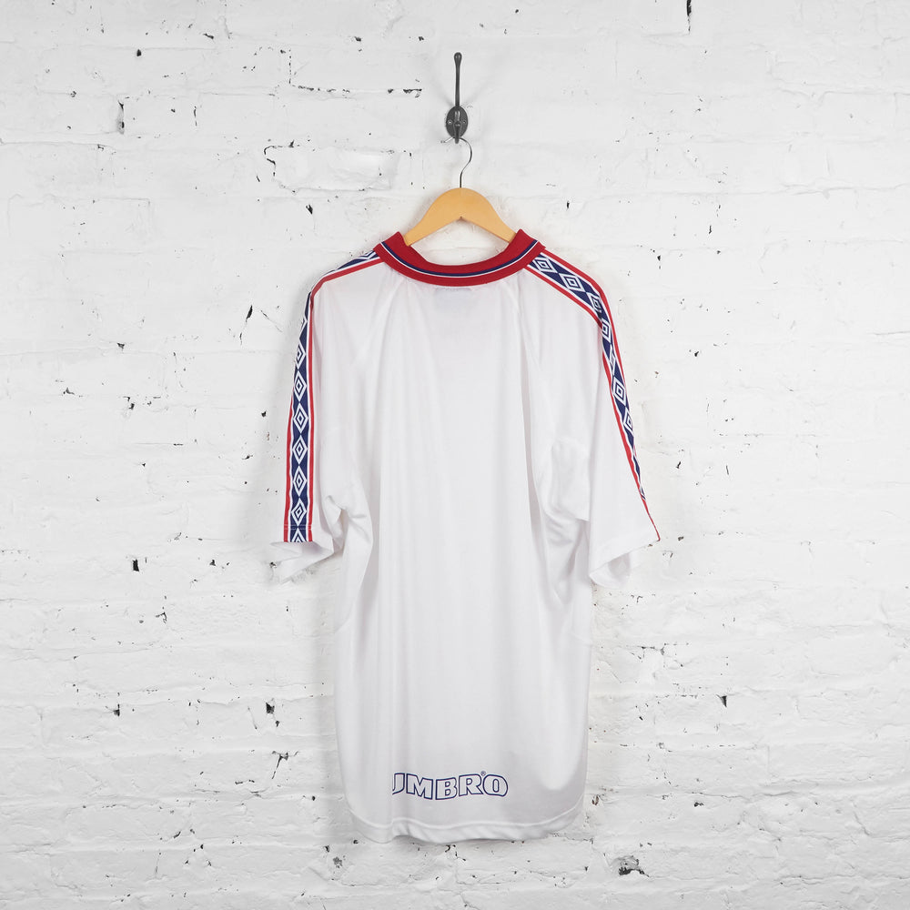 Vintage Umbro Polo Sports Top - White/Red/Black - XXL