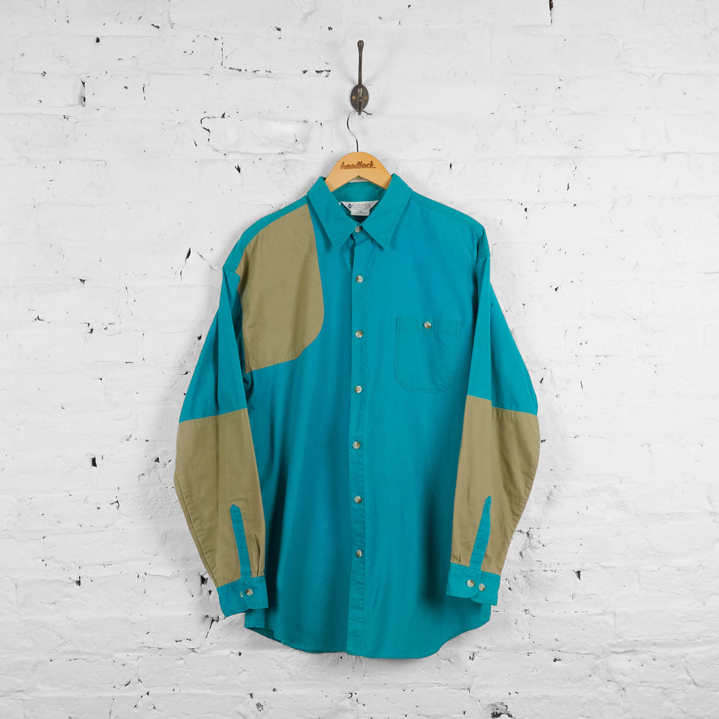 Vintage Columbia Patchwork Shirt - Blue - L