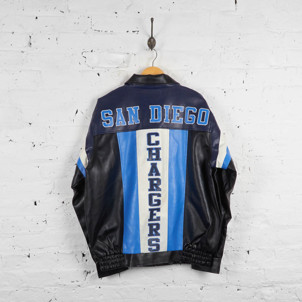 Vintage San Diego Chargers NFL Leather Jacket - Black/Blue/White - L