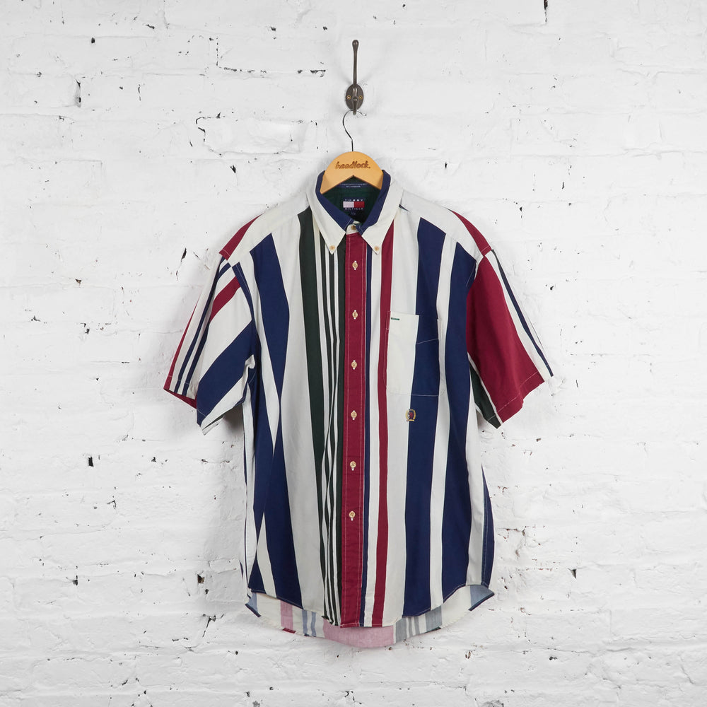 Vintage Striped Tommy Hilfiger Shirt - Green/White/Red - L