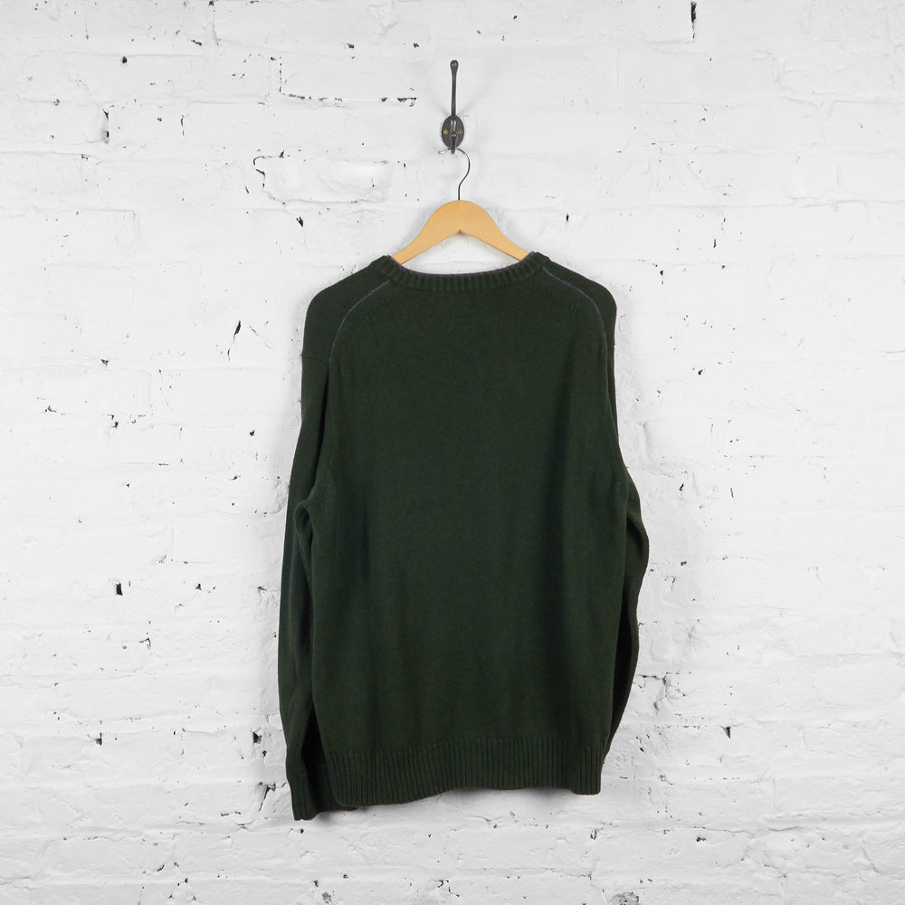 Vintage Tommy Hilfiger Jumper - Green/Navy - XL