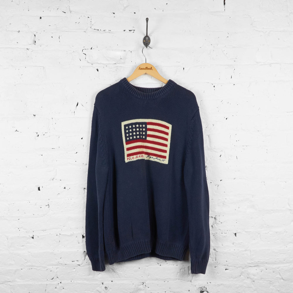 Vintage Ralph Lauren Polo Jeans American Flag Knitted Jumper - Navy - XL